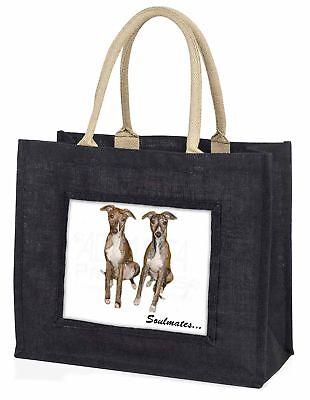 WHIPPET Hunde  Soulmates  große schwarze Einkaufstasche