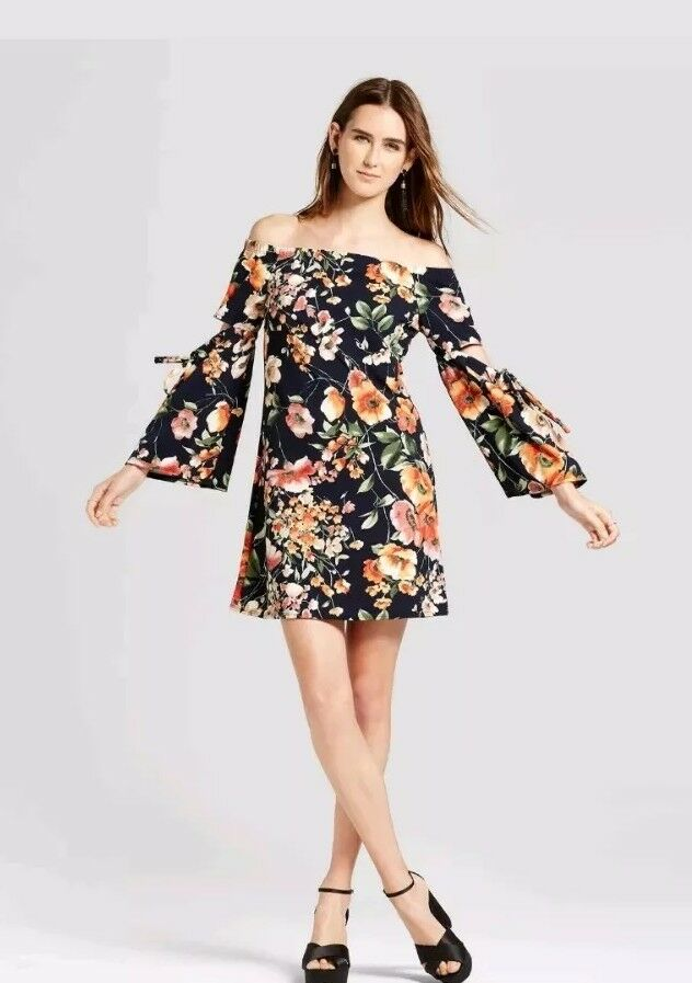 The Vanity Room Womens Off Shoulder Floral Short Bell Sleeves Dress Sz. L