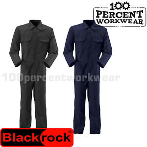 Mens-Quality-Mechanics-Industrial-Work-Coverall-Overalls-Boiler-Suit-Black-Navy