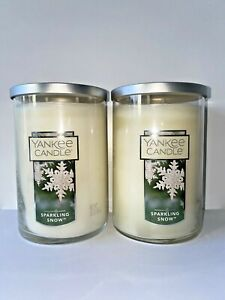 ☆☆SPARKLING SNOW ☆☆SET OF 2 LARGE YANKEE CANDLE 2 WICK TUMBLER☆☆FREE SHIPPING