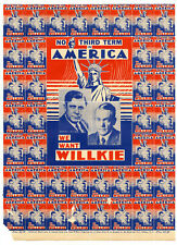2385 1940 Election Wendell Willkie Campaign Brochure ~ Lost to FDR