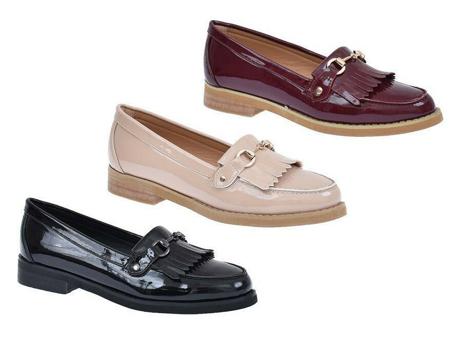S372 - Ladies Loafers Moccasin Buckle Fringe Casual Office School shoes - UK 3-8