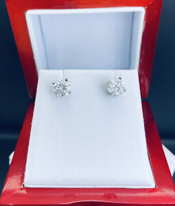 14k White Gold 1.56ctw Diamond Round Stud Earrings F01