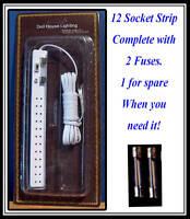 1/12, dolls house Miniature 12 Socket Lighting Strip & 2 Fuses Electrics BN LGW