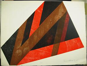 Artist-1975-Print-Original-Geometriquei-Art-Modern-Abstract-Modernism