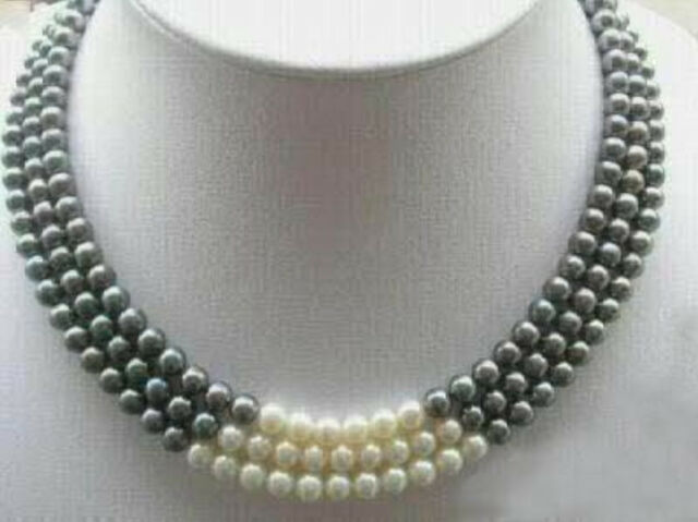 """3Rows 7-8MM Black White Natural Pearl Necklace 17-19"""""""