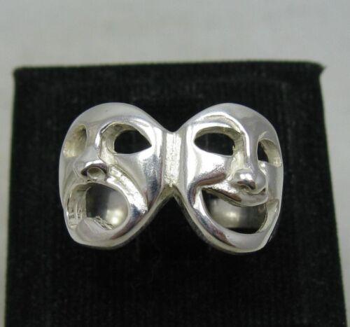 Sterling Silver Ring Solid 925 théâtre comédie tragédie Masques Taille 4-11 NEUF