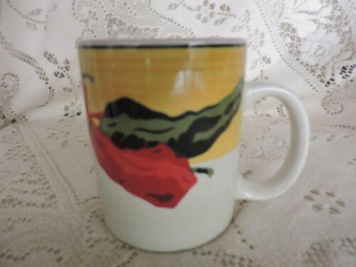 "PEPPERS MEIWA ART SANTA FE 1997  3 1//2/"" MUG RED /& GREEN CHILI/'S MW,DW SAFE"