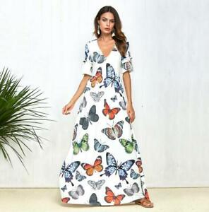 c2c414ec748a Image is loading Woman-Short-Sleeve-Maxi-dress-Colorfull-Butterfly-Printed-