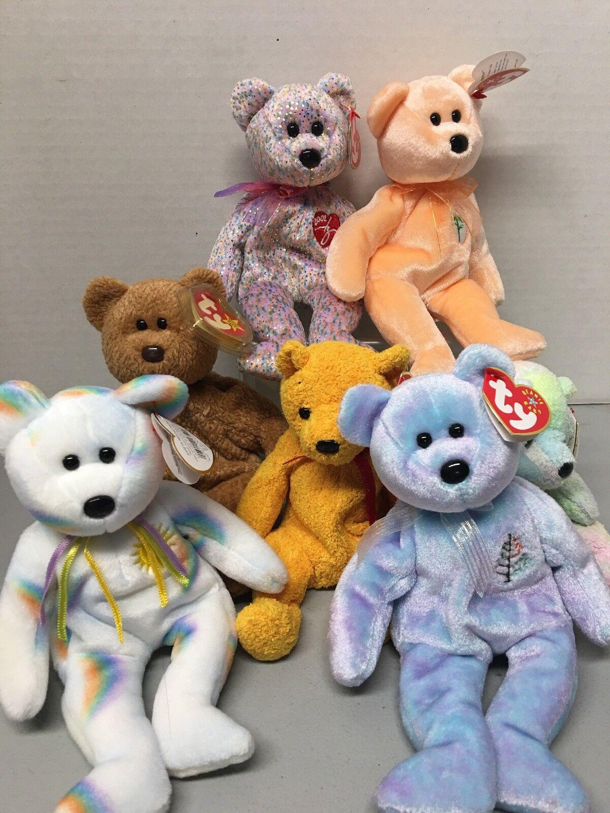 TY Beanie Babies  2001 SIGNATURE BEARcurly  Poopsie. Cheery. Dearest. Bear Set.