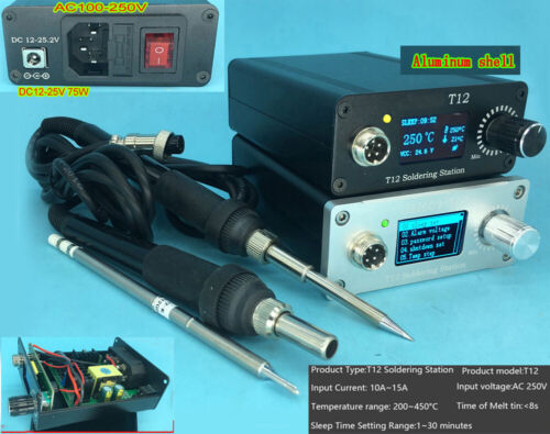 OLED Digital T12 Soldering Iron Station 8s melting tin Temperature Controller