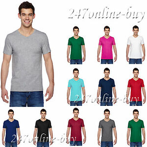 66710ce3 Fruit of the Loom Mens Sofspun V Neck T Shirt Vneck Tee S-3XL SFVR ...