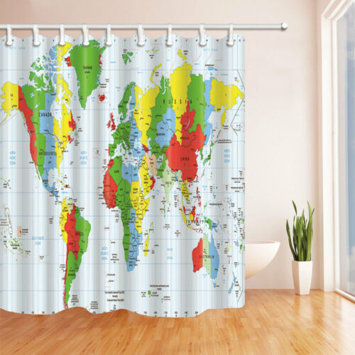 Colored World Map Decor Bathroom Polyester Fabric Shower Curtain With12 Hooks