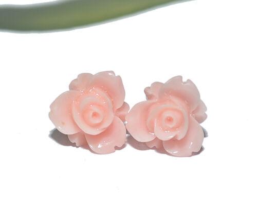 Ohrringe silber Blume Blüte Cabochon Rose + AUSWAHL + ROSEN OHRSTECKER
