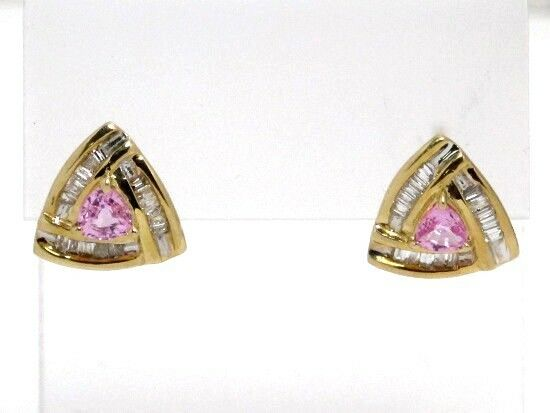 14k Yellow gold Trillion Pink Sapphire and Baguette Diamond Stud Earrings 1.15ct