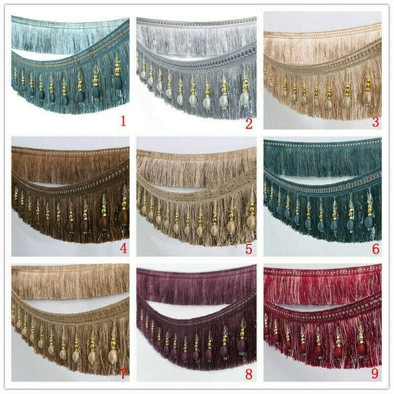 Crystal Beaded Fringe Upholstery Curtain Sewing Tassel Trim Decorative Ribbon 1M