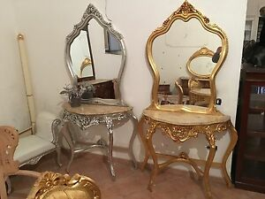 consolle completa di specchio in foglia argento Oppure In Foglia Oro ...