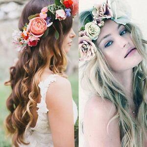 Mode Frauen Hochzeit Haar Blumengirlande Kronen Stirnband