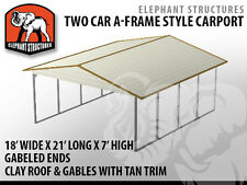 Two Car Metal Carport - 18' x 21' x 7' for $1,495