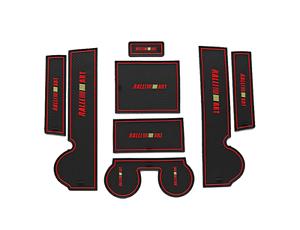 Fit For LANCER 2010-2015 RALLI ART Car Gate Slot Mat Cup Holder Rubber Mat Red