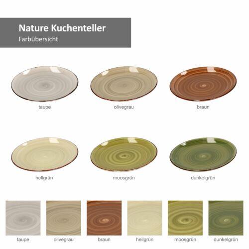 6er Nature Kuchen-//Gebäckteller Landhausstil I Ø 18,5 cm I Rustikale Optik
