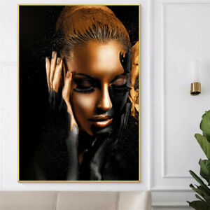 Canvas Print Painting Black Gold African Woman Wall Art Pictures Poster Decor//