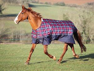 Shires Highlander Turnout Blanket 81 Quot Navy Red Check Ebay