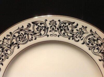 "Sango Niagara 3763 Black & White Scroll Platinum Trim 7 3/4"" Salad Plate"