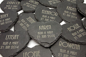 Image Is Loading Personalised Heart Shape Slate Coasters Laser Engraved Wedding