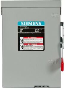 Double-Pole-Outdoor-Non-Fusible-Safety-Switch-Siemens-General-Duty-60-Amp