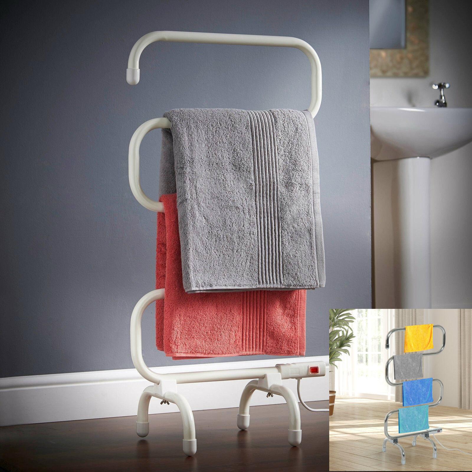 Debout Prise en Chauffant électrique Portable Serviette Vêtements Rail Linge UK