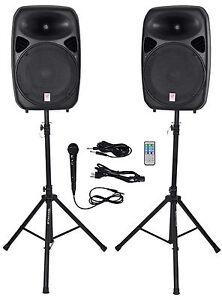 Rockville RPG152K Dual 15 Powered Speakers Bluetooth Mic Speaker Stands Cables