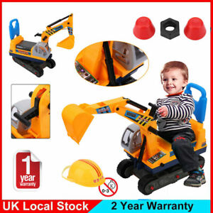 NEW-CHILDRENS-LARGE-EXCAVATOR-YELLOW-RIDE-ON-DIGGER-TOY-TRUCK-W-HELMET-SAFETY