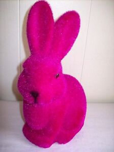 9-034-Flocked-Bunny-Figure-Hot-pink-violet-SO-CUTE