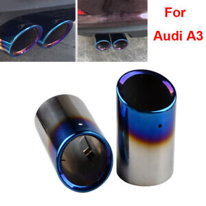 2x-Audi-A3-Blue-Stainless-Steel-Chrome-Exhaust-Tail-Muffler-Tip-Pipe-80mm