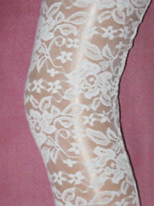 22fd614e00d Ice White Floral Lace Footless Tights. Size 10. New wedding summer ...