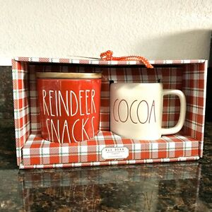 Rae-Dunn-REINDEER-SNACKS-034-Red-Cellar-amp-034-COCOA-034-Mug-Set-Christmas-Holiday-2019