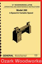 General Model 260 12 Variable Speed Wood Lathe Operating Amp Parts Manual 1172