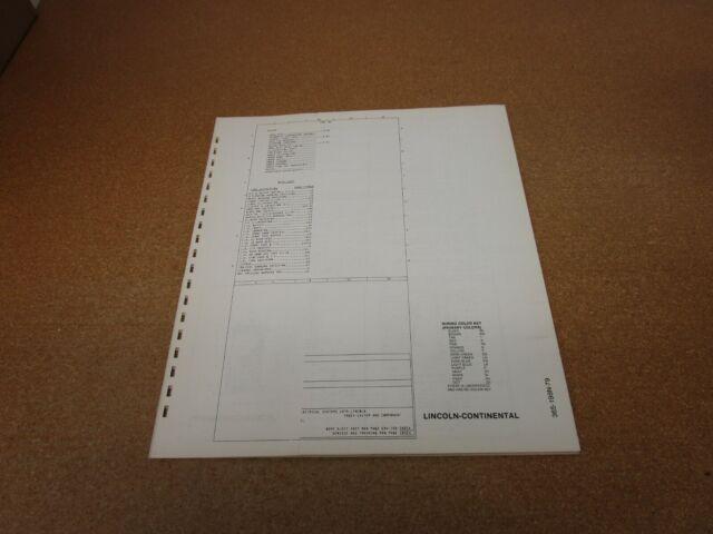 Original 1979 Lincoln Continental Wiring Diagram Sheet