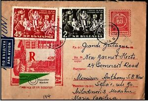 Bulgaria-1961-Airmail-Registered-to-UK-Congress-Social-Democratic-Party