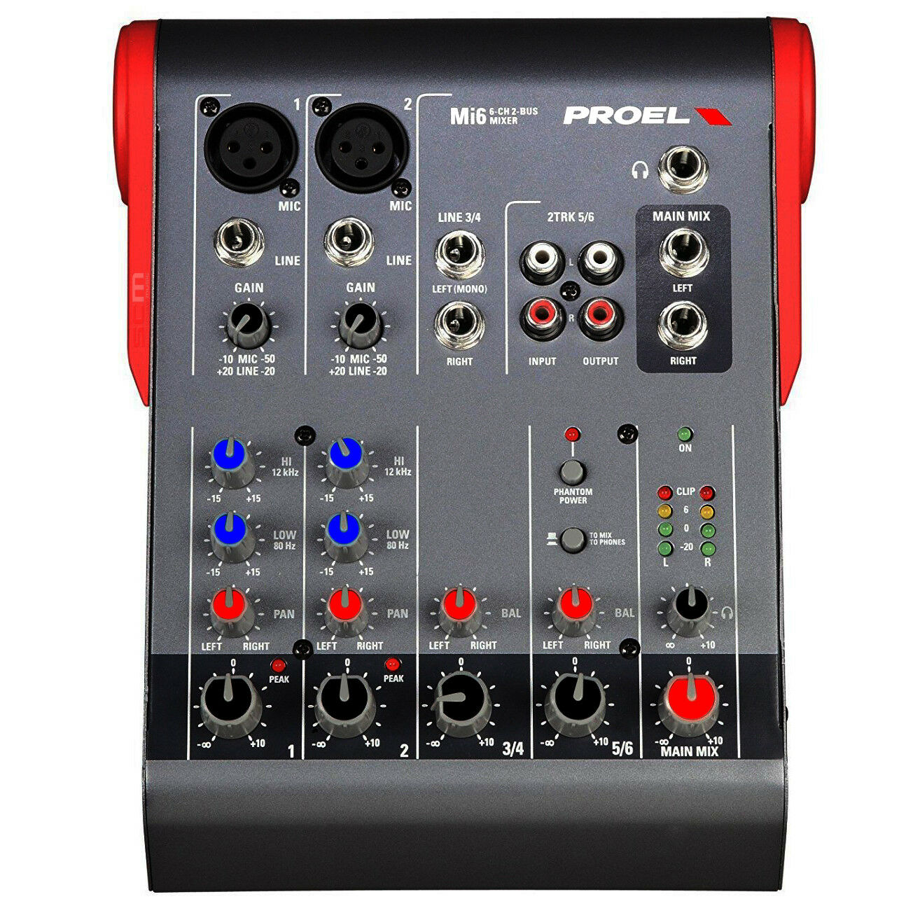 PROEL Mi6 Compact Mixer Small Format 6 Channel Mixing Console Designed in