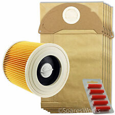 Karcher Wet and Dry Vacuum Filter Cartridge 5 Hoover Bags A2064PT WD2.240 +Fresh