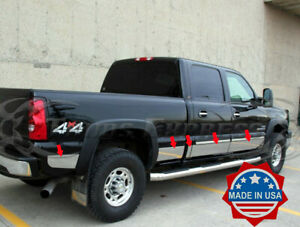 2001-2006-Chevy-Silverado-Crew-Cab-6-8-039-Short-Bed-Rocker-Panel-Trim-8-7-8-034-W-F