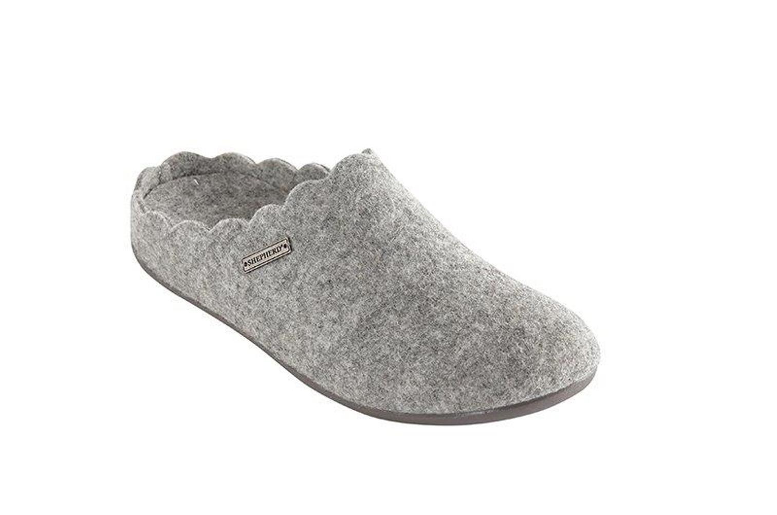 Shepherd 34/6609 Paulina Hausschuhe Pantoffeln Fußbett grau Gr. 36 - 41 Neu
