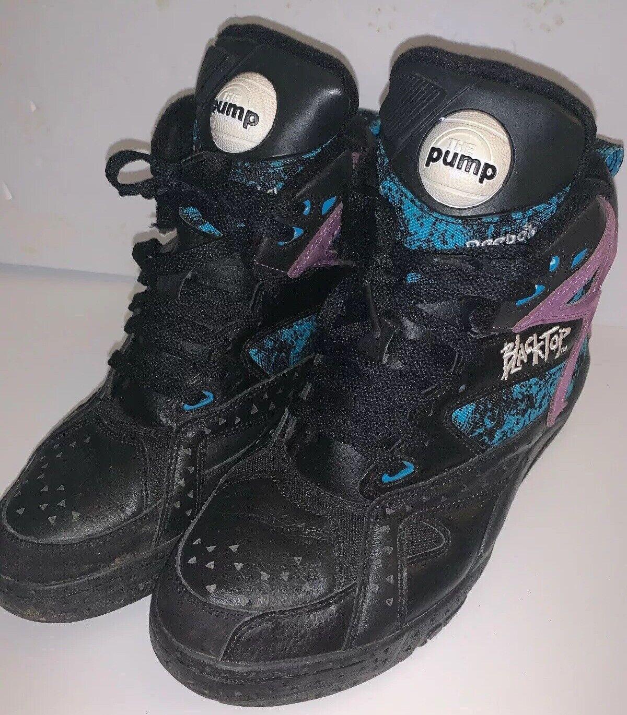Reebok Pump Hi Top negrotop Battleground negro púrpura azul Talle 8.5 Raro