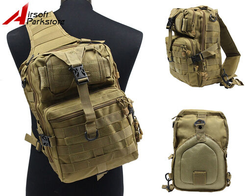 Molle Tactical Hydration Shoulder Bag Backpack Outdoor Camping Hiking Pack Tan