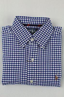 Polo Ralph Lauren Blue Checkered Button Down Classic Fit Oxford Dress Shirt NWT