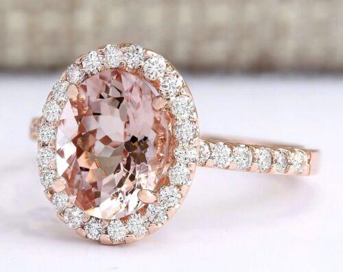Luxury Women Rose Gold Plated Oval Cut Morganite Gem Ring Bridal Jewelry Sz 6-10