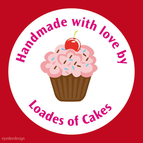 126 Personalised  Cup Cake Handmade Homemade Round Stickers Thank You Address