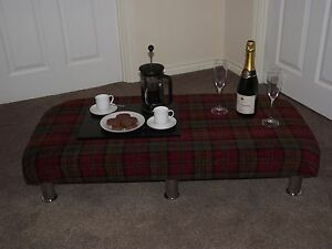 Home & Garden Ambitious Red Tartan Xl Foot Stool Thick Upholstered Top Coffee Table Footstool Chrome Leg Dependable Performance Furniture